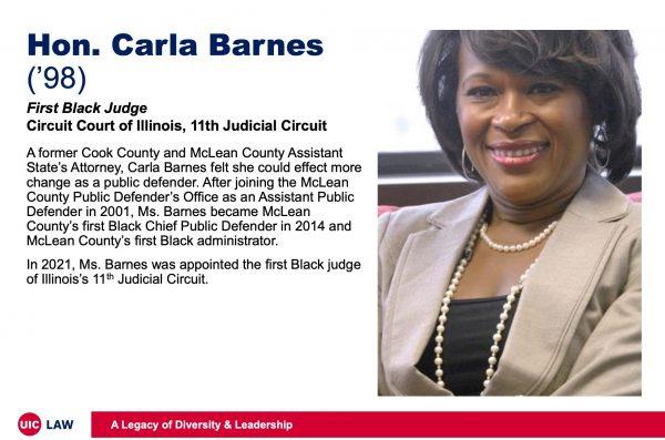 Hon. Carla Barnes ('98), First Black Judge, Circuit Court of Illinois, 11th Judicial Circuit
