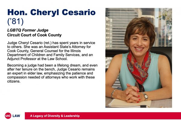 Hon. Cheryl Cesario ('81), LGBTQ Former Judge, Circuit Court of Cook County