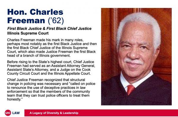 Hon. Charles Freeman ('62), First Black Justice & Black Chief, Justice Illinois Supreme Court