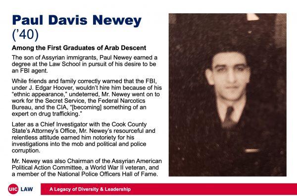 Paul Davis Newey ('40), Among the First Graduates of Arab Descent