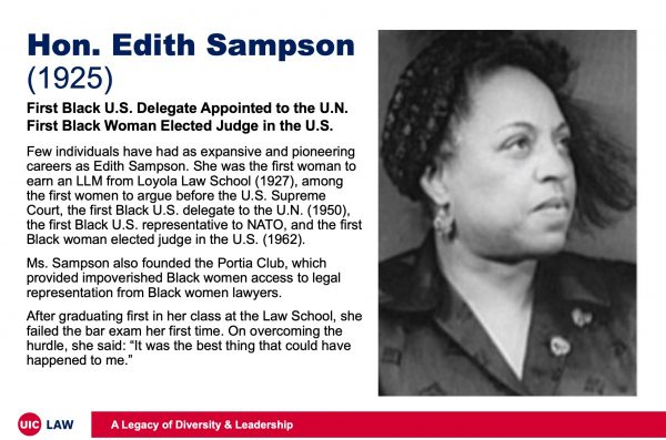 Hon. Edith Sampson (1925), First Black U.S. Delegate to the U.N., First Black Woman Elected Judge in the U.S.