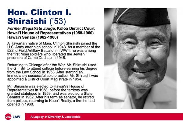 Hon. Clinton I. Shiraishi ('53), Former Magistrate Judge, Kōloa District Court; Hawai'i House of Representatives (1958-1960); Hawai'i Senate (1962-1966)